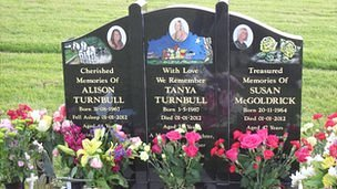 The grave of Michael Atherton&#039;s victims, Alison, Tanya and Susan