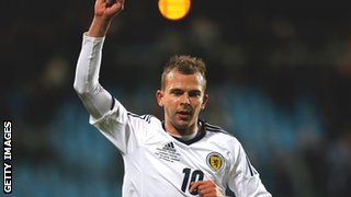 Blackburn striker Jordan Rhodes scores for Scotland