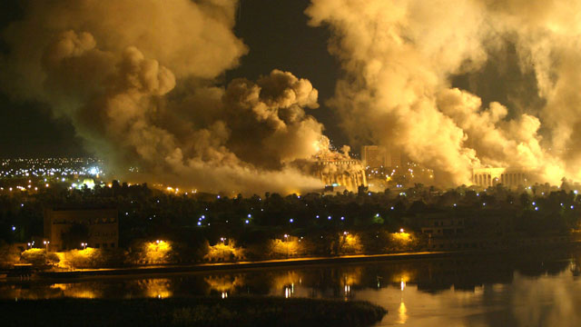 Bombs and anti-aircraft fire during the night in March 2003 
