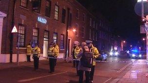 Police cordon, King Street, King's Lynn