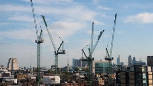 Cranes and the London skyline