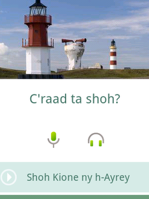 &#039;Learn Manx&#039; app screen