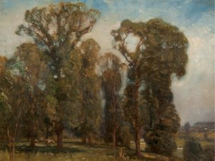 Landscape with Sheep, Dedham by Sir Alfred Munnings