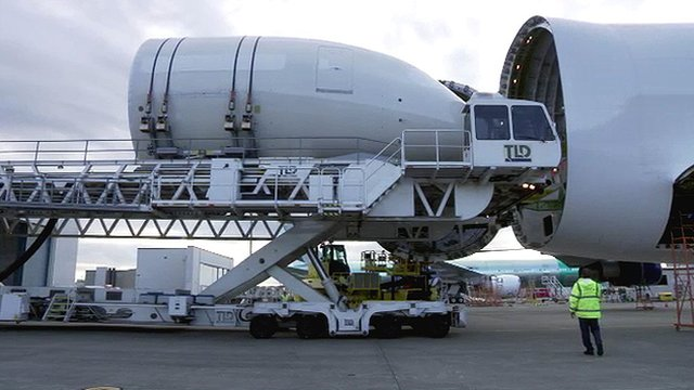 Nose cone being unloaded