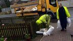 Sandbags being put down in West Kilbride