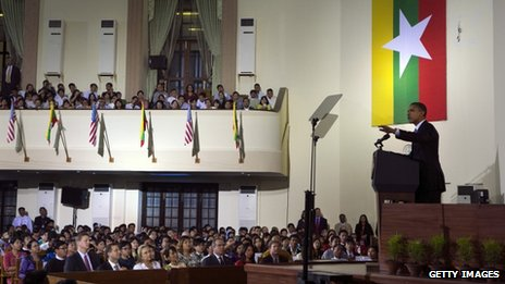 US President Barack Obama speaks at the University of Yangon during his historical first visit to the country on 19 November 2012