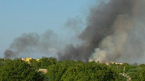 Smoke rising over Garissa