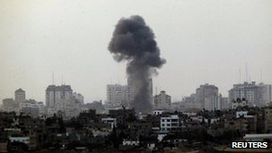 Smoke rising after an Israeli air strike in Gaza