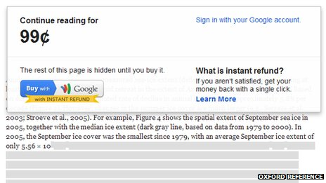 Google's micropayments on Oxford Reference site