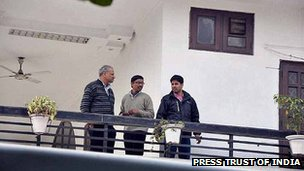 Income Tax officials during a raid at the residence of liquor baron and businessman Ponty Chadha in Moradabad