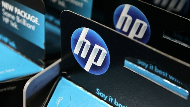 HP logo on packaging