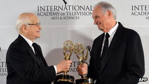 Norman Lear and Alan Alda at the International Emmy Awards in New York