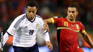 Matty Phillips in action for Scotland against Belgium