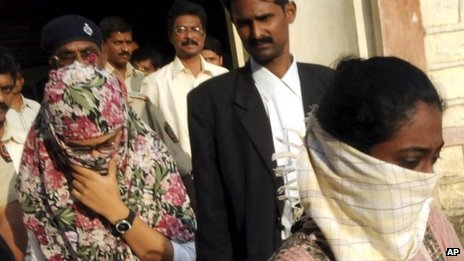 Shaheen Dhada, left, and Renu Srinivasan, who were arrested for their Facebook posts, leave a court in Mumbai on Nov 20, 2012