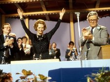 Prime Minister Margaret Thatcher, accepts the applause from the delegates at the 1983 Tory Party Conference