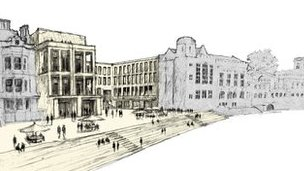 Artist impression of York's historic Guildhall and riverside complex