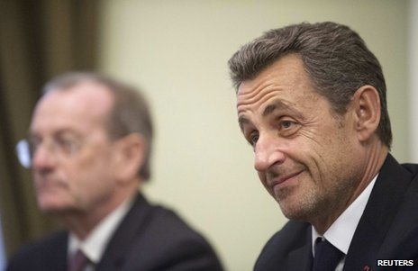 Nicolas Sarkozy (right) on a visit to Moscow, 14 November 2012