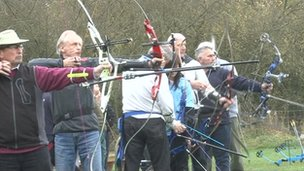 Archers line up as part of Deer Park Archers club