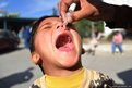 An Afghan health worker administers a polio vaccination to a boy