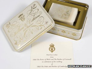 A piece of the Duke and Duchess of Cambridge's wedding cake