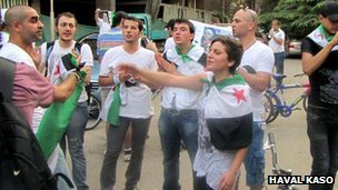 Dana taking part in a protest in Cairo
