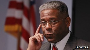 Allen West listens to a question at a campaign stop with guests at SCORE South Palm Beach 18 October 2012