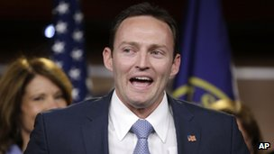 Patrick Murphy speaks during a news conference with newly elected Democratic House members, 13 November 2012