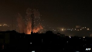 Israeli strike on border tunnels between Egypt and Rafah in southern Gaza Strip. 20 Nov 2012
