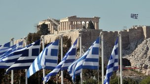 Greek flags at the Acropolis in Athens
