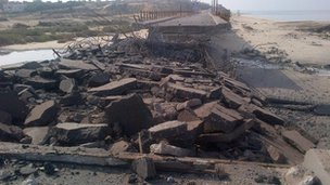Coastal bridge in Gaza destroyed in Israeli bombardment