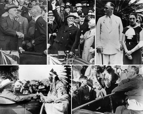 Composite image of Franklin D Roosevelt propping himself up while standing, and sitting down when meeting people