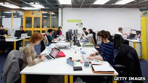 Start-up workers at London's Tech Hub