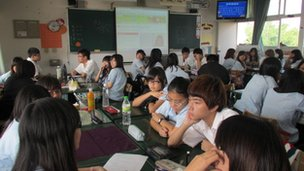 Wunshan Senior High School students in Taiwan participate in the debate