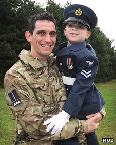 Sgt Chris Everatt is reunited with his son at RAF Marham