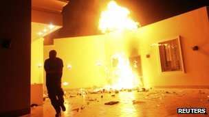US Consulate in Benghazi on fire