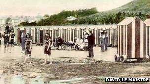 Bathing huts at West Park in 1883