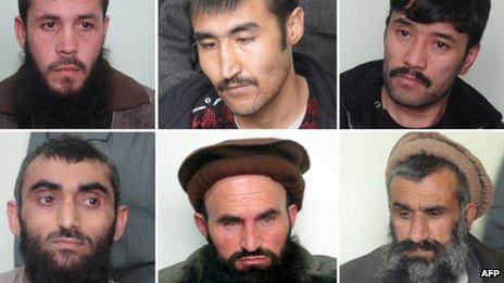 Afghan government handout showing six men executed on Wednesday