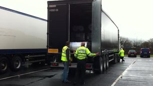 Police checking a lorry as part of Operation Hedgehunter