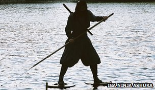 A demonstration of a ninja using water shoes