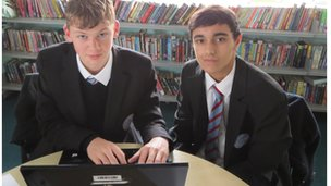 Pupils from Upton-by-Chester High School follow the discussion online