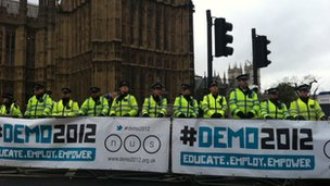police on march outside Parliament
