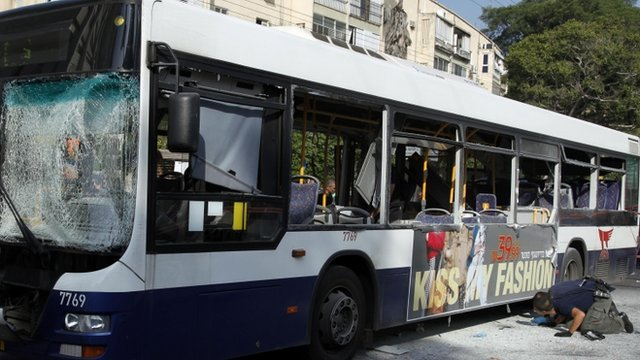 Tel Aviv bus damaged in blast