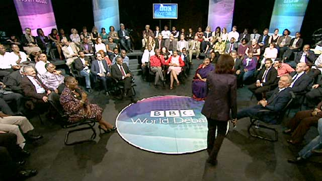 Zeinab Badawi with guests and studio audience