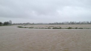The River Parrett flooded on Aller Moor