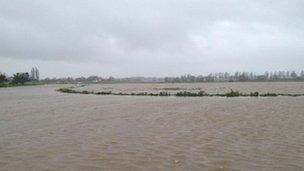 The River Parrett flooded on Aller Moor