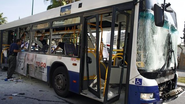 Bomb exploded on a bus in Tel Aviv