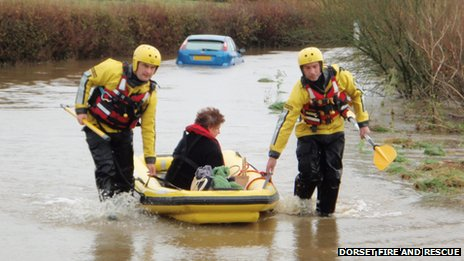 A woman is rescued by firefighters in Longburton