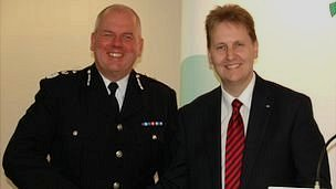Chief Constable Mike Cunningham and Matthew Ellis