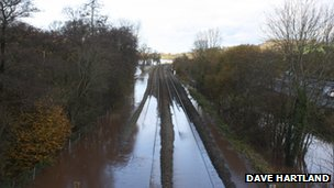 Flooded rail tracks near Cullompton. Pic: Dave Hartland