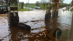 The flooded Cross Keys petrol station near Taunton